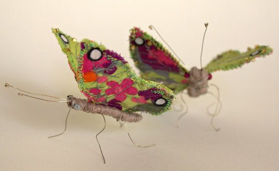 Embroidered textile butterfly with gold beading by ThePlanetSant, £35.00