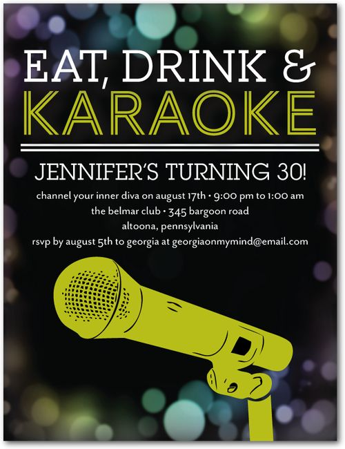Karaoke Idol Adult Birthday Party Invitations Postcard