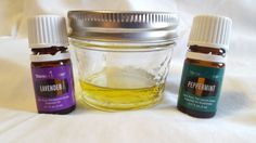 Young living essential oils blend of peppermint oil, lavender oil, and a generic olive oil.