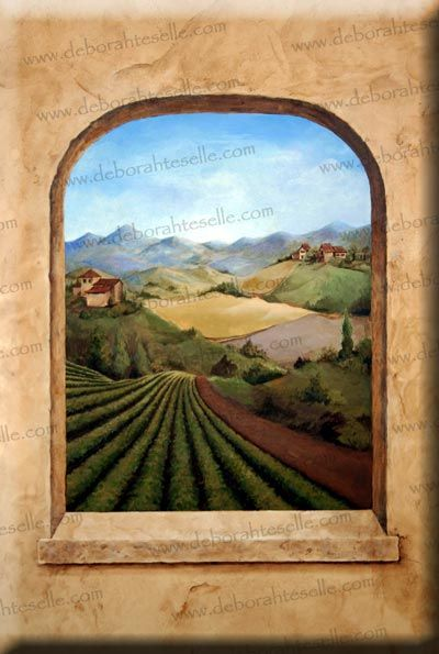Trompe Loeil Of Tuscan Countryside In A Kitchen Tuscan