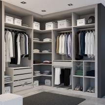 Vestidor esquina melamina lino gris con cajones y pantalonero waking closet modernos en 2019 - Armarios empotrados en esquina ...
