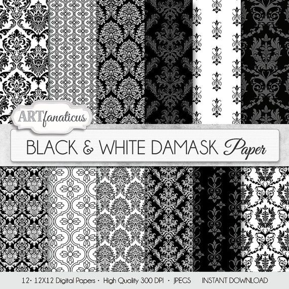 "Damask digital papers ""BLACK & WHITE DAMASK"" elegant, black, white, damask for weddings, scrapbooking, invites, cards, home décor and more"