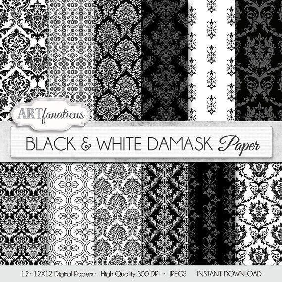 """Damascato in documenti digitali """"Nero & bianco Damasco"""" elegante, nero, bianco, damascato per matrimoni, scrapbooking, inviti, carte, decorazioni per la casa e altro"""