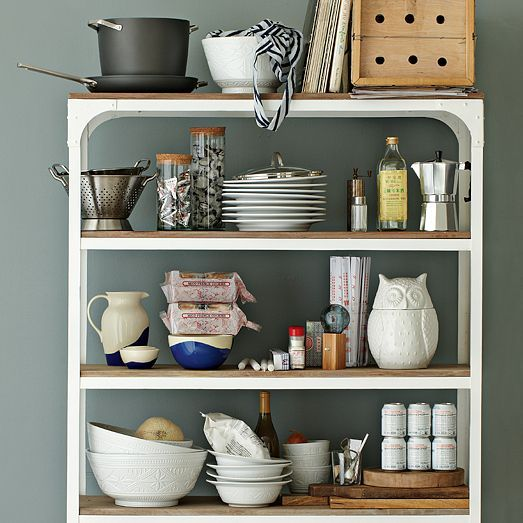 White metal + wood. At West Elm.: Interior, Metal Shelves, Wood And Metal, Metals, Kitchen, Woods, Design, West Elm