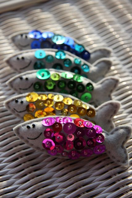 felt sardines - these are cute. they need sequins on both sides, and only one eye per side.