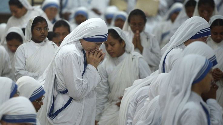 Nuns of the Missionaries of Charity pray last month at the Mother House, the Missionaries' head office, in Kolkata, India.