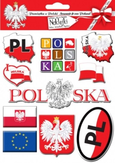 Set of ten thick stickers in the national colors of red and white featuring the White Eagle Crest, Eagle on the Map of Poland, I love Polska, Poland's flags, and European Union flag. Great for school