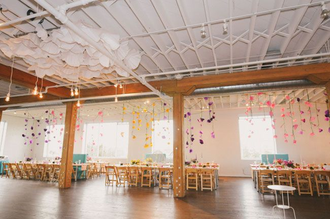 hanging paper flower decor (Green wedding shoes)