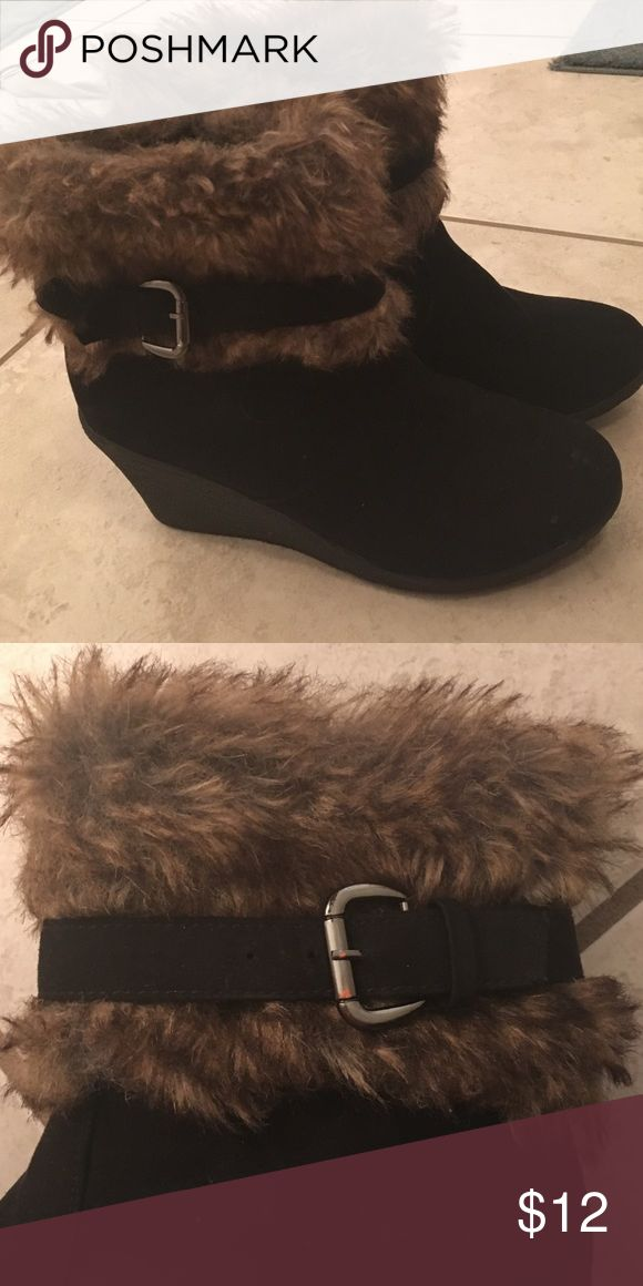 "Black Wedge Boots ""wit da' Furrr"" Got the whole club looking at her! These are comfy cozy Rue 21 Etc brand size 8/9 fits like an 8.5. Rue 21 Shoes Ankle Boots & Booties"