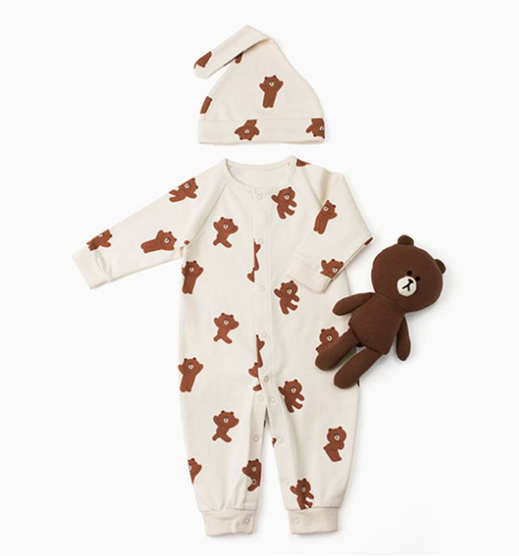 LINE Friends Newborn gift Baby clothes doll SET boy long-sleeve Brown Character #LINEFriends