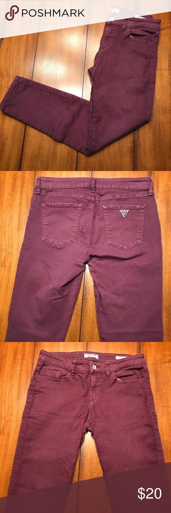 Guess Purple Skinny Jeans These jeans are so comfortable! A fun twist to your regular old skinny jean! Minor pulling of the fabric but it's not that noticeable when you have them on! Let me know if you have questions😊 I'm selling as they are big on me. Guess Jeans Skinny