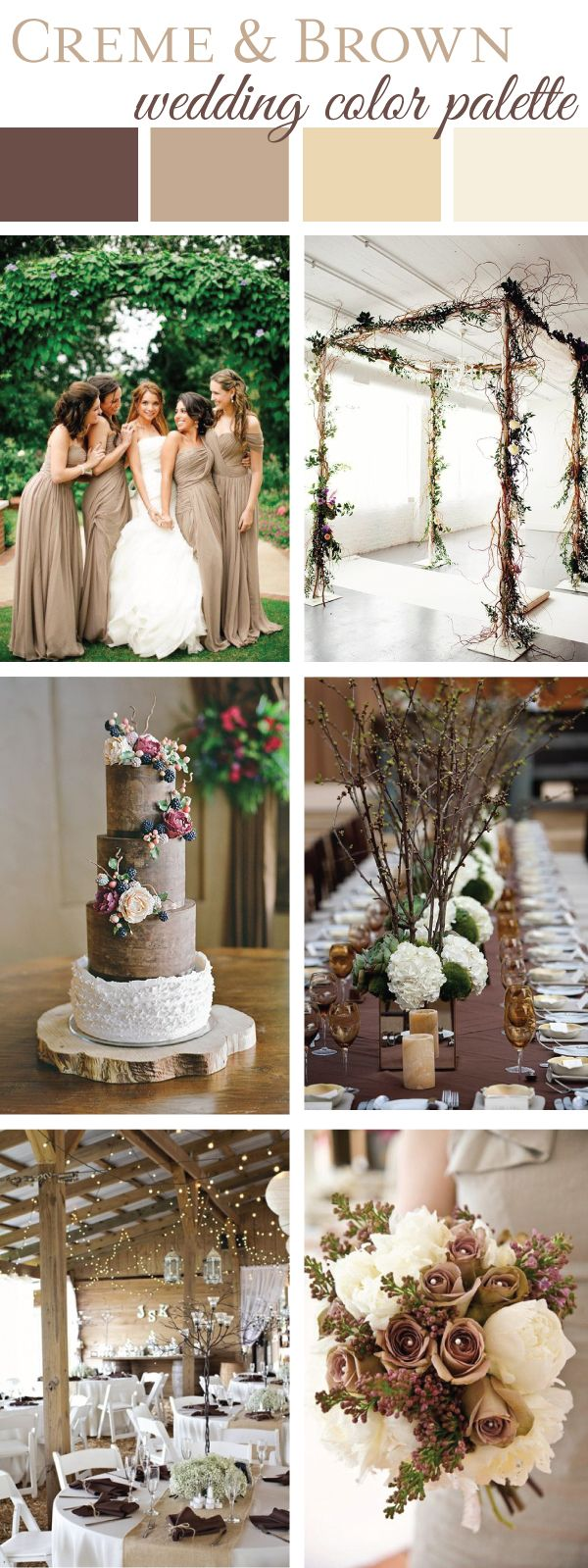 This natural creme and brown wedding color palette is a must-see! What sets this palette apart is the focus on organic vibes and rustic elements. Coordinating ivory, tan, beige and brown tones together creates a perfected contrast that's soft on the eyes. Natural branches and floral accents blend with the natural ambience