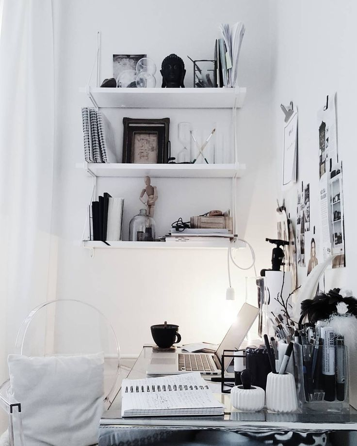 Ikea 'Ekby/Gällö ' wall shelf | Moodboard on the wall | @emmaberghem | Small Workspace