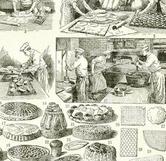 1922 gravure vintage patisserie confiserie cuisine for Cuisine art deco