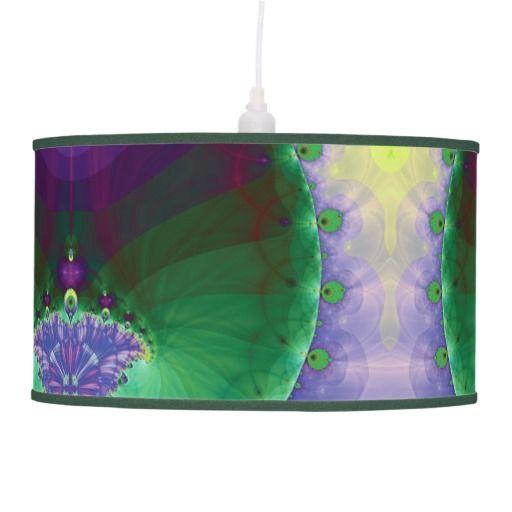 Fractal Pendant Lights: Purple Green And Yellow Mandelbrot Fractal