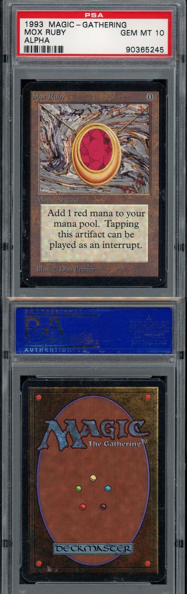 MTG Individual Cards 38292: Psa 10 - Mox Ruby - Alpha - Gem Mint - 1993 Mtg Magic - Bgs 9.5 Quality -> BUY IT NOW ONLY: $13999.99 on eBay!