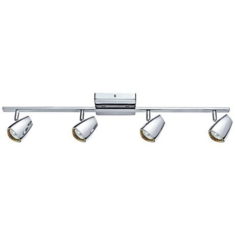 Add sparkling dazzle to a room with this gleaming polished chrome four-light track fixture on a straight bar.