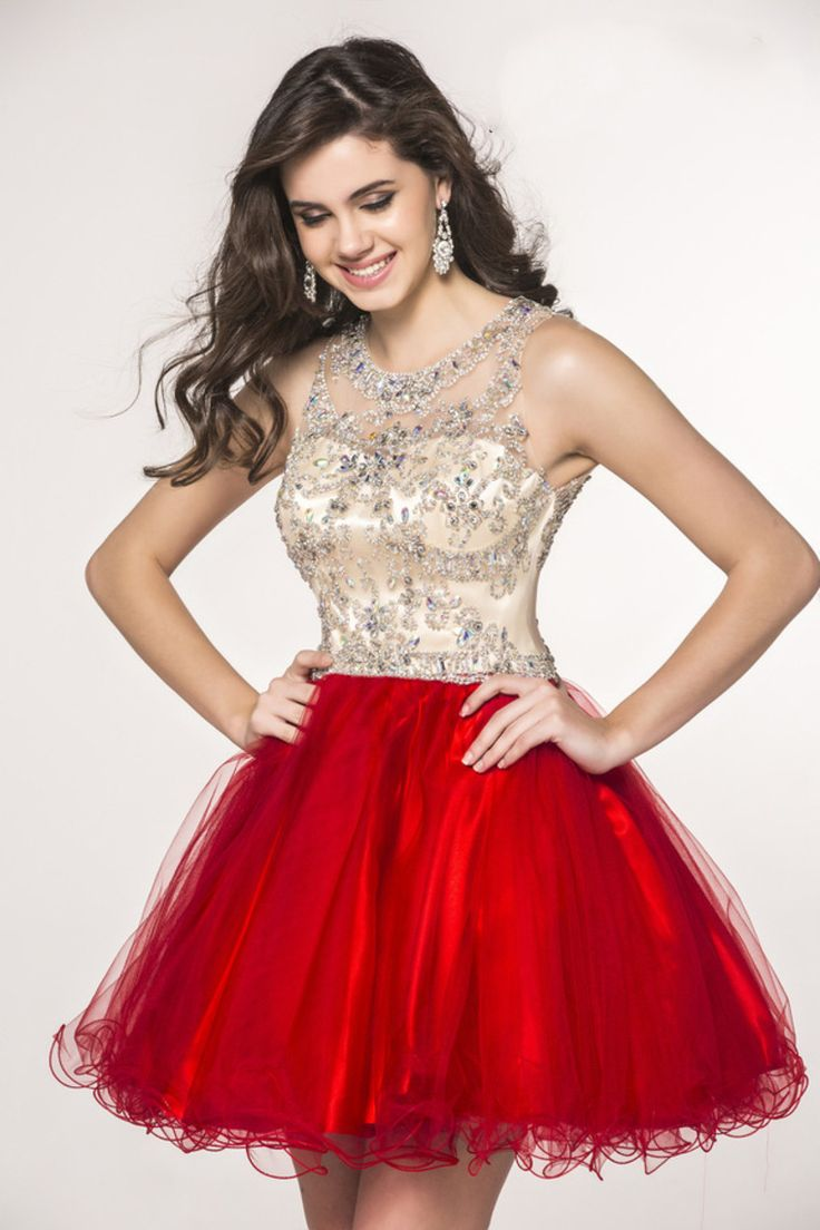 2015 Scoop A Line Tulle Short/Mini Homecoming Dresses Fashion And Cute