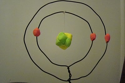 Atomic model using air dry clay.  Looks much easier than the pom pom model we tried! This one is lithium.
