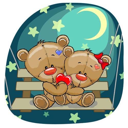 Teddy bear with red heart vector cards 02