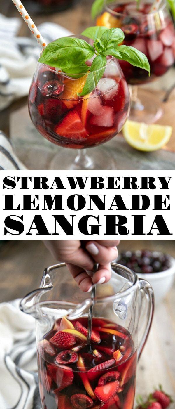 Strawberry Lemonade Sangria with Basil and Cherries