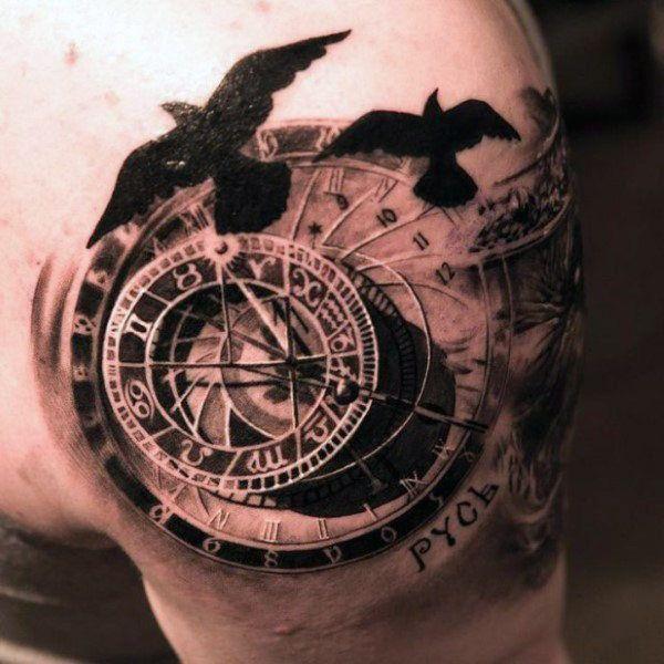 110 Best Compass Tattoo Designs Wild Tattoo Art Compass Tattoo Watch Tattoos Clock Tattoo