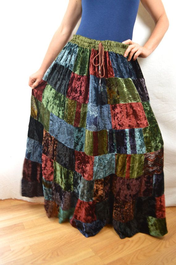 Cute hippie style -- great for this winter.. super cozy. All of the pieces of this skirt are velvety. Elastic and drawstring waist. Great vintage shape. …