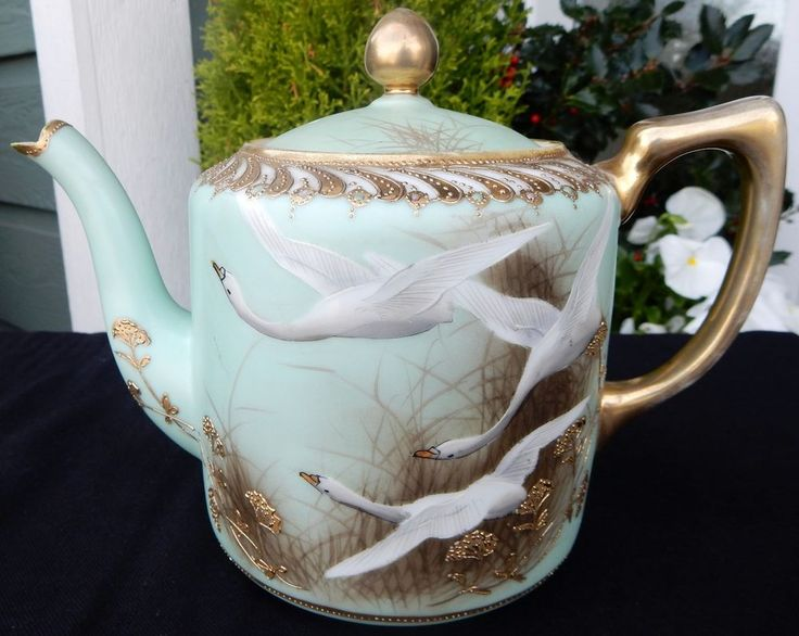 35 best noritake images on pinterest tea pots noritake and tea cup rare antique nippon noritake hand painted moriage beads gold aqua swans teapot fandeluxe Image collections