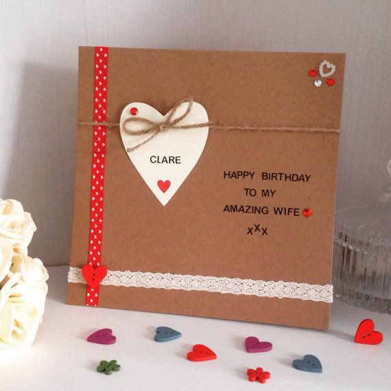 Personalised Amazing Wife Handmade Birthday Card
