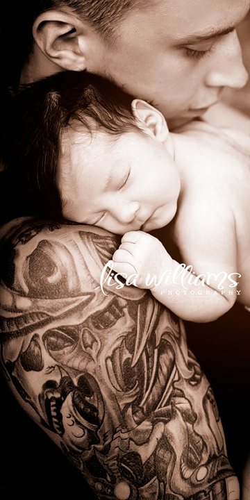 Love dad 39 s tattoo with a sleeping baby tattooed moms for Baby tattoos for dads