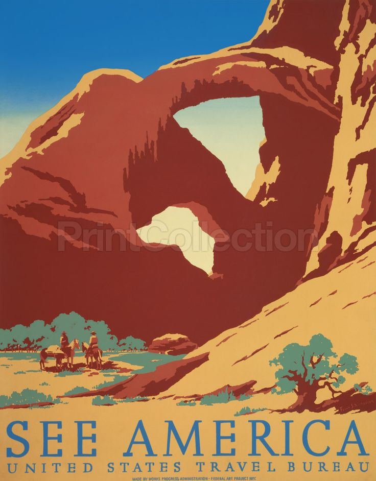 See America Arches National Park, Utah by artist, Frank S. Nicholson original poster for the United States Travel Bureau promoting tourism, showing two cowboys on horseback by stream near desert rock