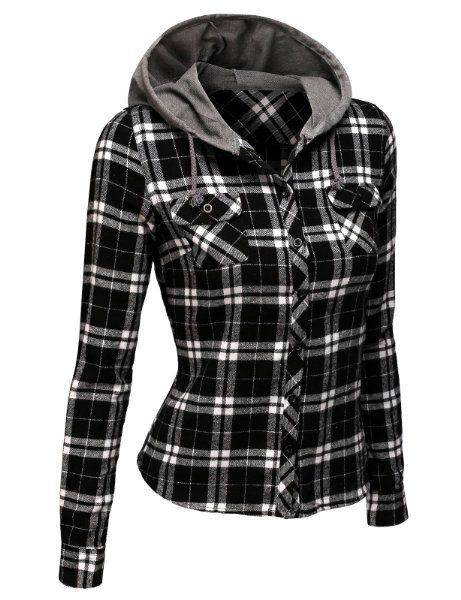 Doublju Contrast Hood Flannel Shirt With Chest Pockets BLACKWHITE (US-L)