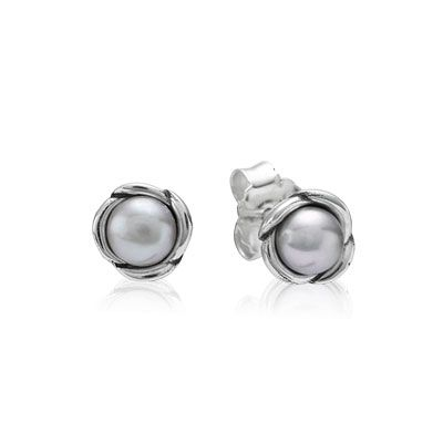PANDORA | Silver earring with grey freshwater cultured pearl