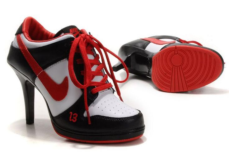Newest Womens Nike Dunk Heel Low Black white red logo shoes
