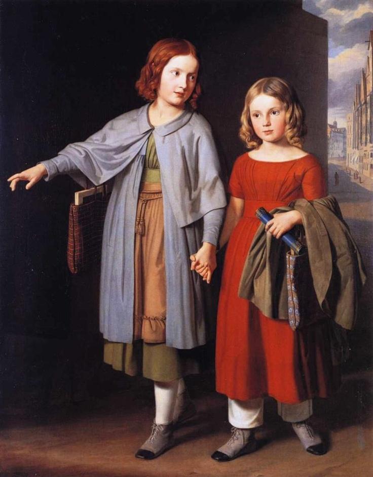The Artist's Daughters on the Way to School  Gustav Adolph Hennig (1851)  Museum der Bildenden Künste - Leipzig  Painting - oil on canvas