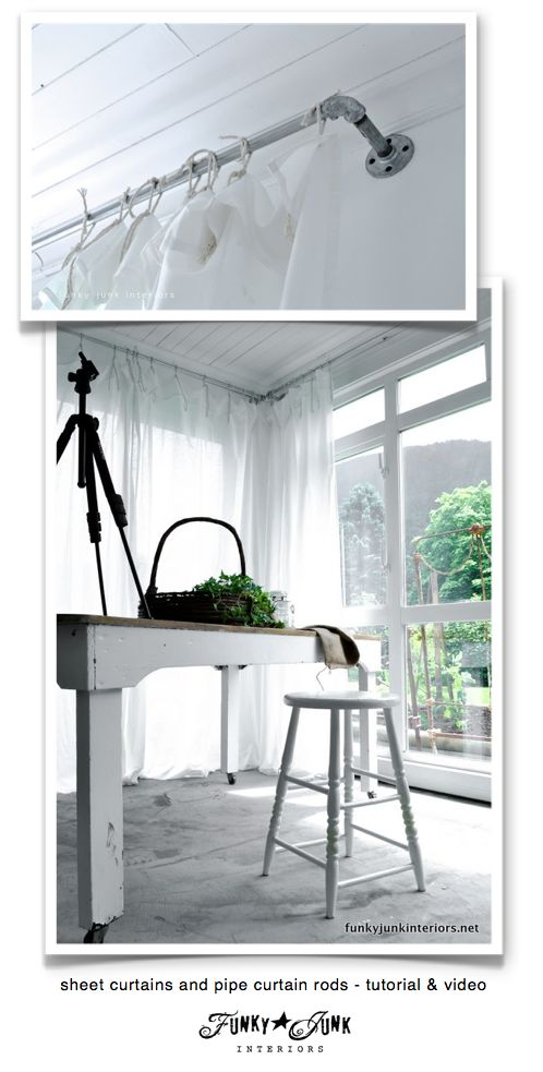 DIY:: How to make pipe curtain rods with sheet curtains ! (Tutorials for Both!)