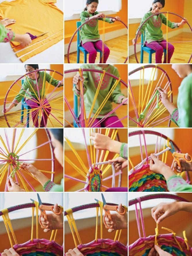 Vyrobte si krásny koberec kreatívnym spôsobom za použitia hula hoop a starých tričiek. Čas práce je približne 2-3 hodín. Postup je veľmi jednoduchý.