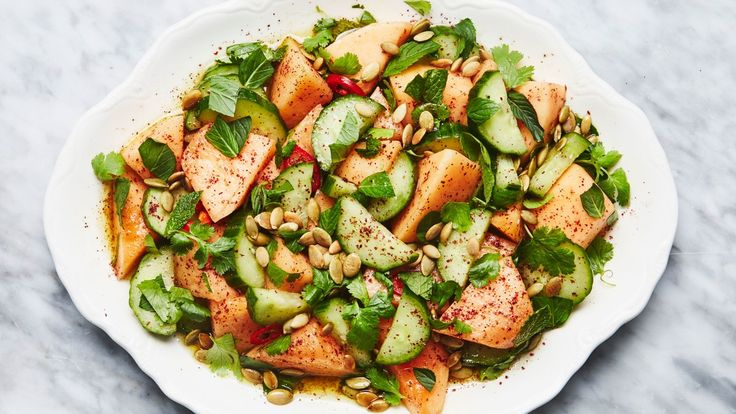 Cantaloupe and Cucumber Salad   Savory fruit salads are officially a thing. (And, for the record, cucumber is a fruit.)