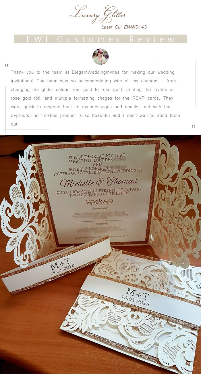 Ivory Laser Cut Wedding Invitations with Glittery Bottom Cards and Bands EWWS143