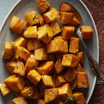This dish has been voted the easiest side dish ever by the Test Kitchen team. Fresh rosemary brightens up chunks of sweet potato for a perfect holiday side.