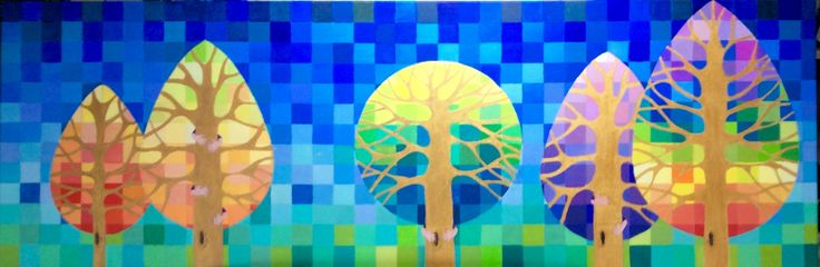 Acrylpainting made by Els Titel: nabijheid. Elke boom staat voor een fase in mijn leven.