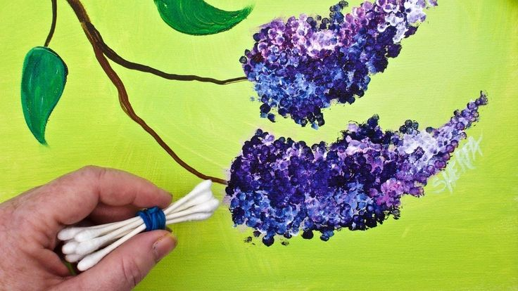 LILACS Cotton Swabs Painting Technique for BEGINNERS EASY Acrylic Painting