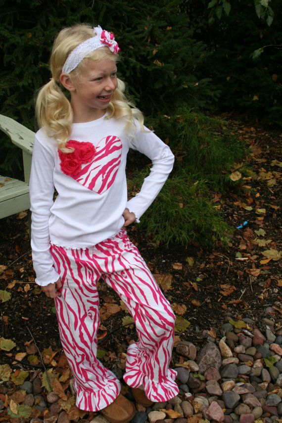 Girls Pink Zebra Pajamas / Pajamas for Girls / Animal Print / Valentine's Day Gift / Gifts Under 50