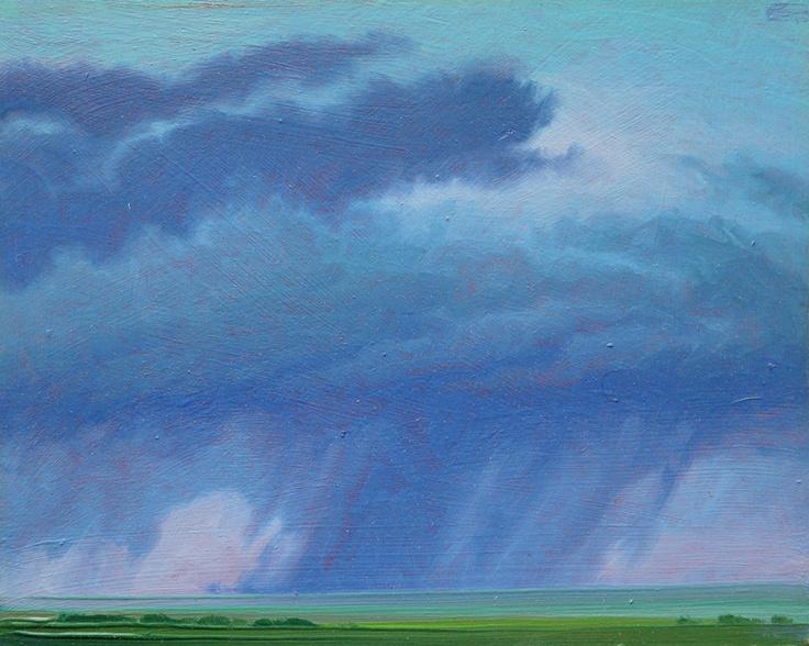 """Shimmermist"" by Jerry Moon Fine Art-Oil-Landscape-Painting-Kansas City, Missouri-Midwest-Sky-Clouds-Storm-Blue-Green-Dramatic-Rain"