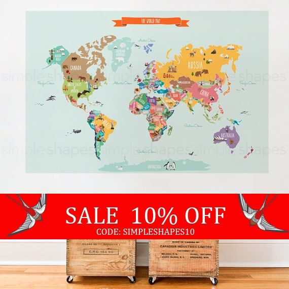 Sale - World Map Decal, Countries of the World Map, Kids Country World Map Poster,  Peel and Stick  Poster Sticker, World Map W1126 by SimpleShapes on Etsy https://www.etsy.com/listing/289733859/sale-world-map-decal-countries-of-the