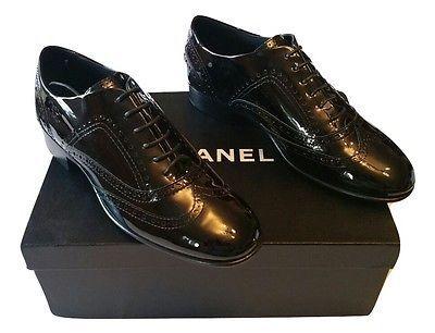 AUTHENTIC Brand New Womens Chanel Black Lace-Ups Patent Calfskin Size 40 EU