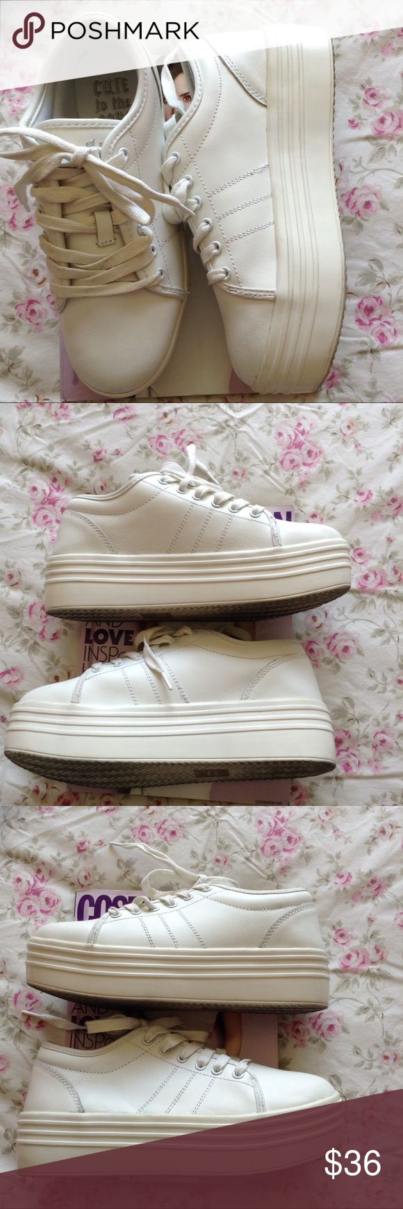 CUTE TO THE CORE WHITE PLATFORM SHOES 7 1/2 CUTE TO THE CORE GO BACK TO THE 90's IN THESE  WHITE PLATFORM TENNIS SHOES, WORN ONCE,  7 1/2 CUTE TO THE CORE Shoes Platforms