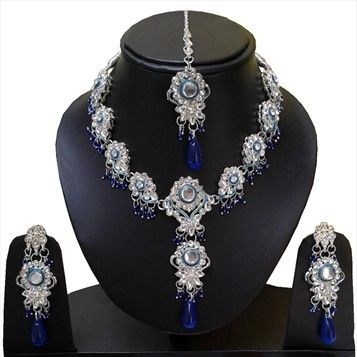 307191 Blue  color family Necklace in Metal Alloy Metal with Beads, CZ Diamond stone  and Silver Rodium Polish work