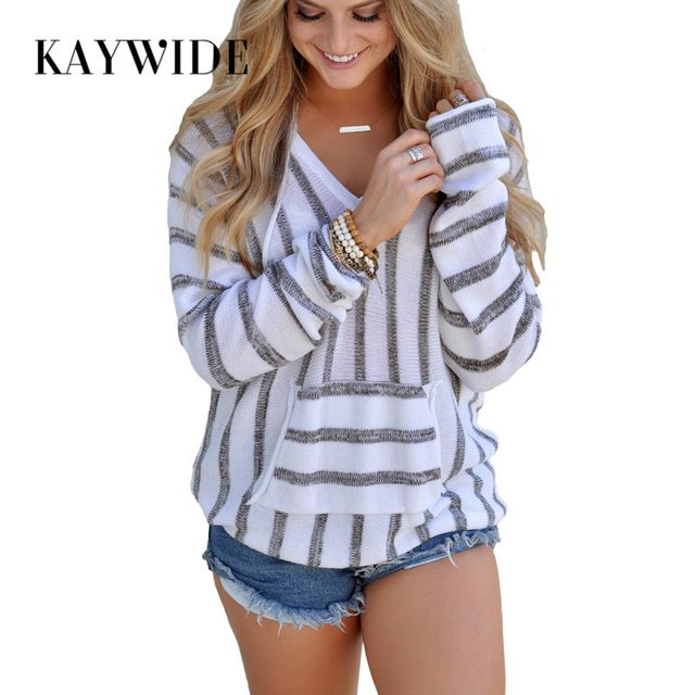 Kaywide 2017 Autumn Fashion Knitted Women Hoodies Striped V Neck Sexy Women Sweatshirt Femme Hooded Collage Patchwork Pullovers #Brand #KAYWIDE #sweaters #women_clothing #stylish_dresses #style #fashion