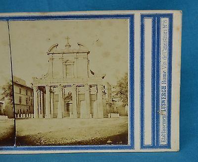 1850s-Stereoview-Photo-Italy-Tempio-Di-Antonino-E-Faustina-By-Luswergh-Rome
